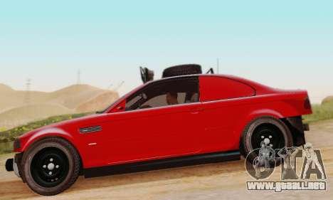 BMW M3 E46 Offroad Version para GTA San Andreas vista posterior izquierda