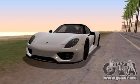 Porsche 918 2013 para GTA San Andreas vista posterior izquierda