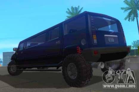 Hummer H2 Limousine para GTA San Andreas vista posterior izquierda