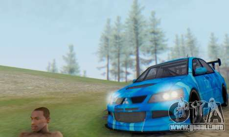 Mitsubishi Lancer Evolution IIIX Blue Star para GTA San Andreas vista posterior izquierda