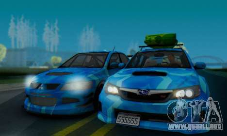 Subaru Impreza Blue Star para GTA San Andreas vista posterior izquierda