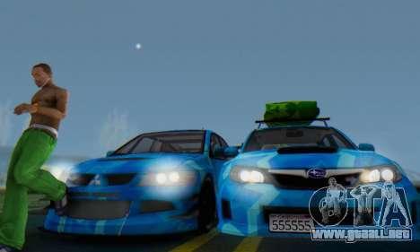 Subaru Impreza Blue Star para visión interna GTA San Andreas