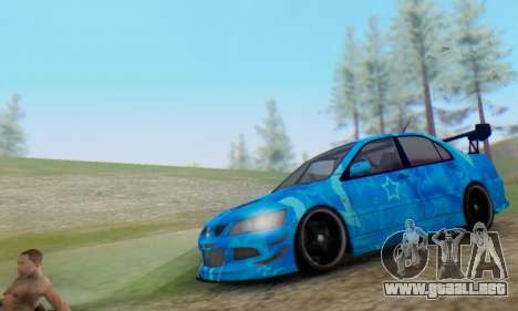 Mitsubishi Lancer Evolution IIIX Blue Star para GTA San Andreas left