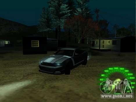 El velocímetro en el estilo de neón para GTA San Andreas segunda pantalla