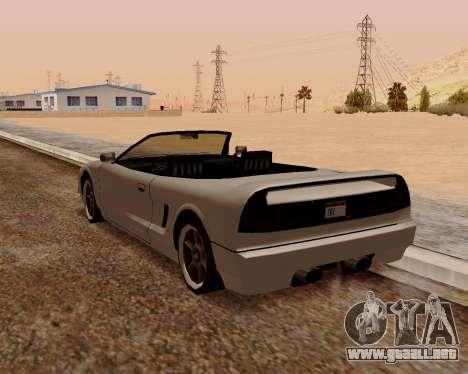 Infernus Convertible para GTA San Andreas vista posterior izquierda