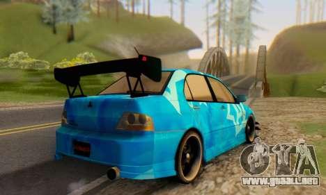 Mitsubishi Lancer Evolution IIIX Blue Star para GTA San Andreas vista hacia atrás
