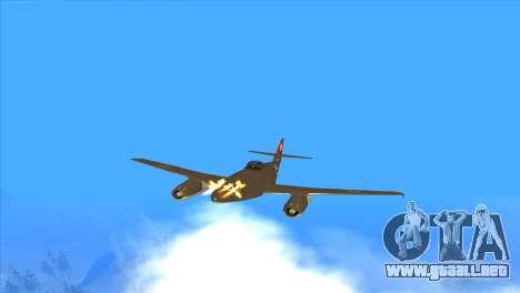 Messerschmitt Me.262 Schwalbe para la vista superior GTA San Andreas