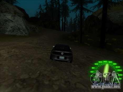 El velocímetro en el estilo de neón para GTA San Andreas sucesivamente de pantalla