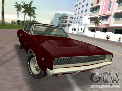 Dodge Charger RT 426 1968 para GTA Vice City visión correcta