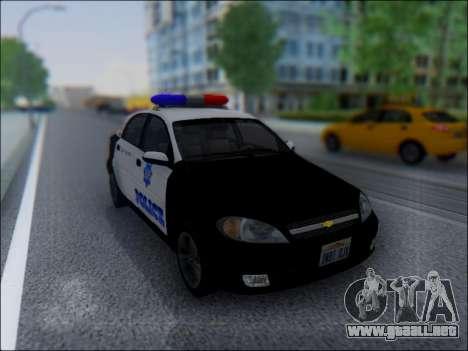 Chevrolet Lacetti Police para GTA San Andreas vista hacia atrás