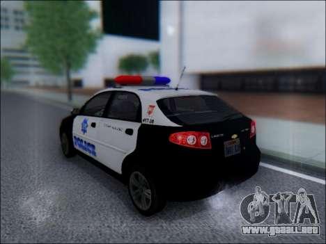 Chevrolet Lacetti Police para GTA San Andreas vista posterior izquierda
