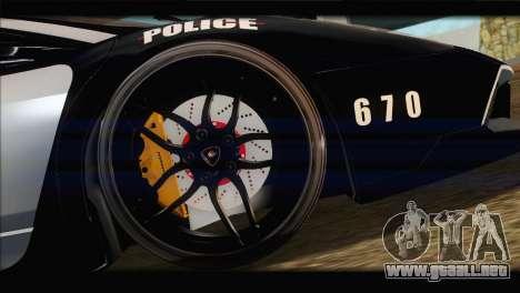 Lamborghini Murcielago LP670 SV Police para visión interna GTA San Andreas