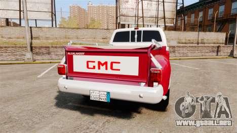 GMC 454 Pick-Up Up para GTA 4 Vista posterior izquierda
