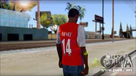 Arsenal Shirt para GTA San Andreas segunda pantalla