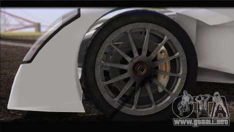 Caparo T1 2012 para GTA San Andreas vista posterior izquierda