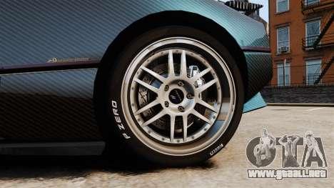 Pagani Zonda C12S Roadster 2001 v1.1 PJ3 para GTA 4 vista hacia atrás