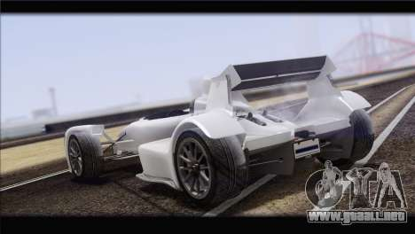 Caparo T1 2012 para GTA San Andreas vista hacia atrás