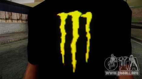 Monster Energy Shirt Black para GTA San Andreas tercera pantalla