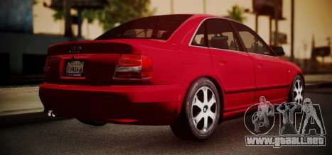 Audi S4 Stock 2000 para GTA San Andreas vista posterior izquierda