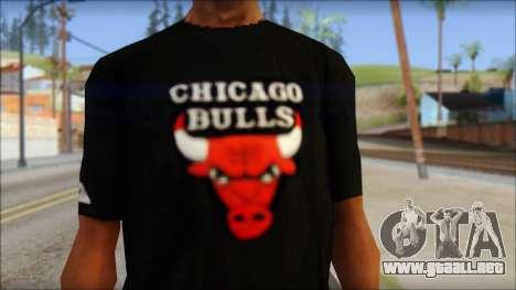 Chicago Bulls Black T-Shirt para GTA San Andreas tercera pantalla