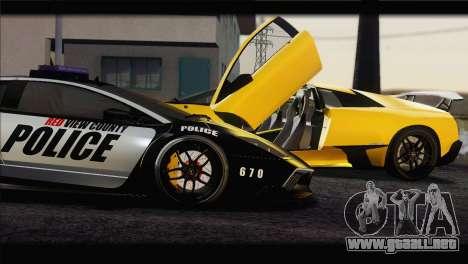Lamborghini Murcielago LP670 SV Police para GTA San Andreas left