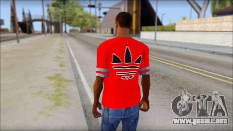 T-Shirt Adidas Red para GTA San Andreas segunda pantalla