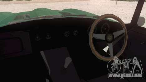 Jaguar E-Type para GTA San Andreas vista posterior izquierda