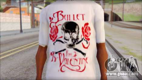 Bullet For My Valentine White Fan T-Shirt para GTA San Andreas tercera pantalla