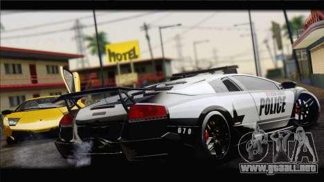 Lamborghini Murcielago LP670 SV Police para GTA San Andreas vista posterior izquierda