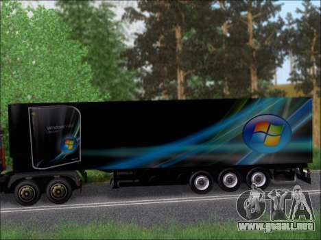 Прицеп Windows Vista Ultimate para GTA San Andreas vista hacia atrás