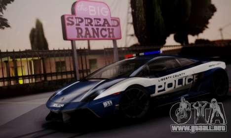 Lamborghini Gallardo LP 570-4 2011 Police v2 para visión interna GTA San Andreas