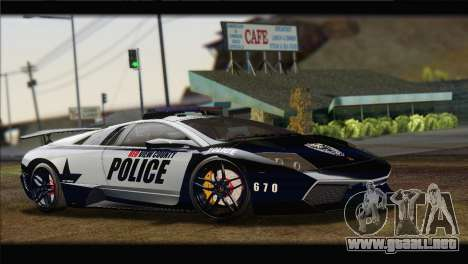 Lamborghini Murcielago LP670 SV Police para la visión correcta GTA San Andreas