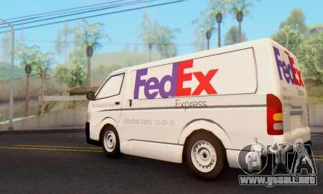 Toyota Hiace FedEx Cargo Van 2006 para GTA San Andreas left