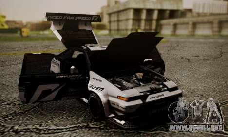 Toyota Corolla AE86 SHIFT2 para la visión correcta GTA San Andreas