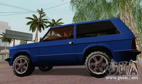 Huntley Coupe para GTA San Andreas vista posterior izquierda