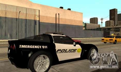 Chevrolet Corvette Z06 Los Santos Sheriff Dept para GTA San Andreas left