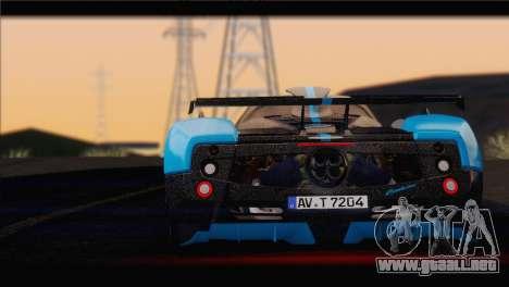 Pagani Zonda UNO para GTA San Andreas vista posterior izquierda