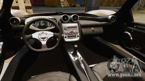 Pagani Zonda C12S Roadster 2001 v1.1 PJ3 para GTA 4 vista interior