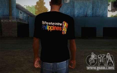 Its More Fun In Philippine T-Shirt para GTA San Andreas segunda pantalla
