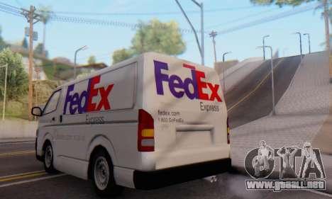 Toyota Hiace FedEx Cargo Van 2006 para la visión correcta GTA San Andreas