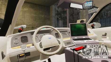 Ford Crown Victoria Sheriff [ELS] Unmarked para GTA 4 vista hacia atrás