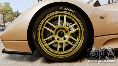 Pagani Zonda C12S Roadster 2001 v1.1 para GTA 4 vista hacia atrás