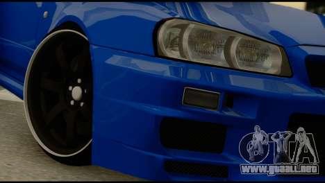 Nissan Skyline R34 para GTA San Andreas vista posterior izquierda
