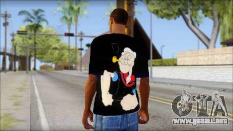 Popeye T-Shirt para GTA San Andreas segunda pantalla