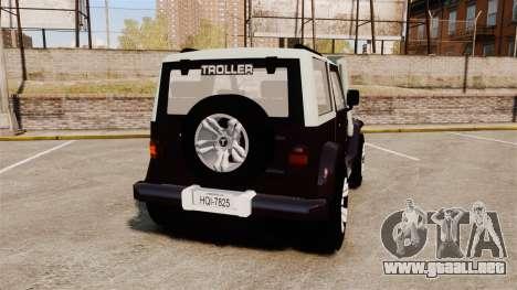Troller T4 para GTA 4 Vista posterior izquierda