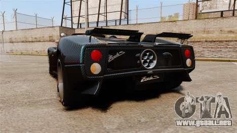 Pagani Zonda C12S Roadster 2001 v1.1 PJ3 para GTA 4 Vista posterior izquierda
