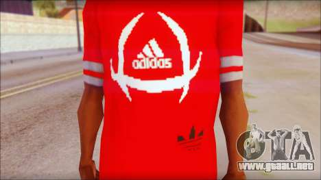 T-Shirt Adidas Red para GTA San Andreas tercera pantalla