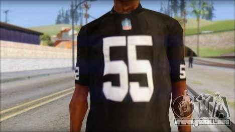 Oakland Raiders 55 McClain Black T-Shirt para GTA San Andreas tercera pantalla