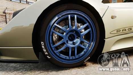 Pagani Zonda C12S Roadster 2001 v1.1 PJ1 para GTA 4 vista hacia atrás