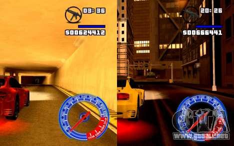 Velocímetro Concepto StyleV16x9 para GTA San Andreas tercera pantalla